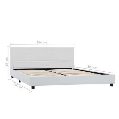 vidaXL Estructura de cama de cuero sintético blanco 160x200 cm