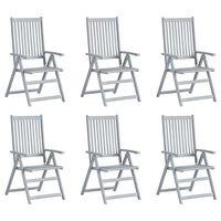 vidaXL Sillas de jardín reclinables 6 uds madera maciza de acacia gris