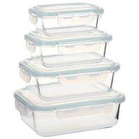 vidaXL Recipientes para guardar comida 4 unidades vidrio