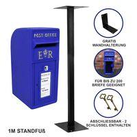 Buzón Royal Mail Azul Escocés Soporte De Suelo De Hierro Fundido Y