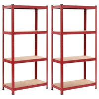 vidaXL Estanterías 2 unidades rojo 80x40x160 cm acero y MDF