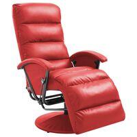 vidaXL Sillón reclinable para TV de cuero sintético rojo