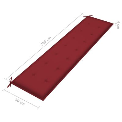 vidaXL Cojín para banco de jardín tela rojo rojo tinto 200x50x4 cm