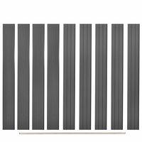 vidaXL Poste de valla de repuesto 9 unidades de WPC gris 170 cm