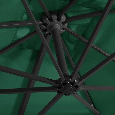 vidaXL Sombrilla voladiza con luces LED y poste acero verde 250x250 cm