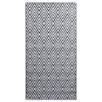 vidaXL Alfombra de exterior PP blanco y negro 80x150 cm