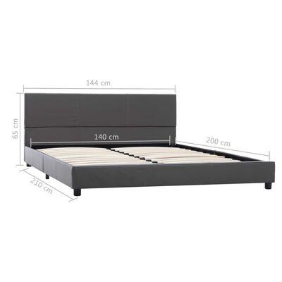 vidaXL Estructura de cama de cuero sintético gris 140x200 cm