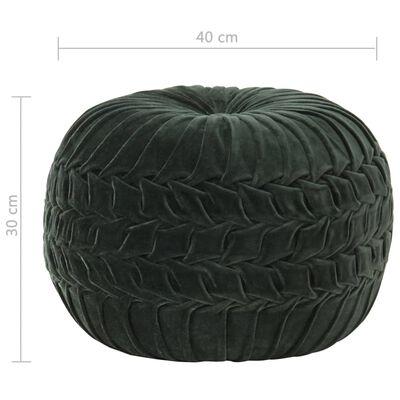 vidaXL Puf de terciopelo de algodón diseño bata verde 40x30 cm