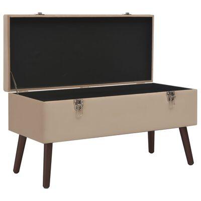 vidaXL Banco con compartimento de almacenaje terciopelo beige 80 cm