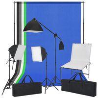 vidaXL Kit de estudio fotográfico con soporte, luces y fondos