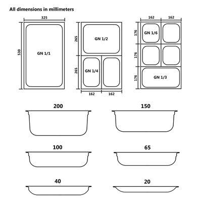 Tapas para bandejas Gastronorm 1/2 acero inoxidable 2 unidades