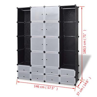 vidaXl Armario modular 18 compartimentos negro y blanco 37x146x180,5cm