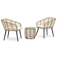 vidaXL Set mesa y sillas de jardín 3 pzas ratán sintético color roble