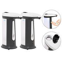 vidaXL Dispensador de jabón automático con sensor y sonido 2 uds 800ml