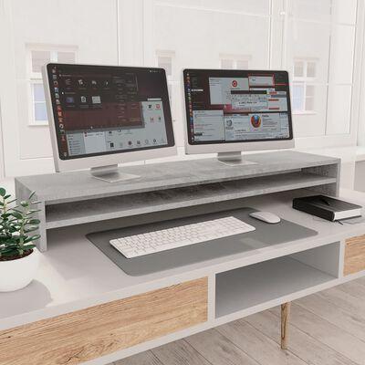 vidaXL Soporte para pantalla de aglomerado gris hormigón 100x24x13 cm