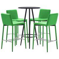vidaXL Set mesa alta y taburetes de bar 5 piezas cuero sintético verde