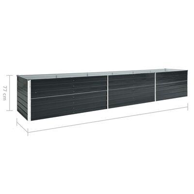 vidaXL Arriate de jardín de acero galvanizado antracita 480x80x77 cm