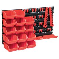 vidaXL Kit de cajas de almacenaje 39 pzas paneles de pared rojo negro