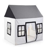CHILDHOME Casa de juegos de lona blanco y negro 125x95x145 cm