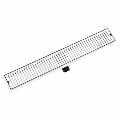 vidaXL Conductos para desagüe de ducha acero inoxidable 83x14 cm