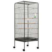 vidaXL Jaula para pájaros de acero gris 54x54x146 cm