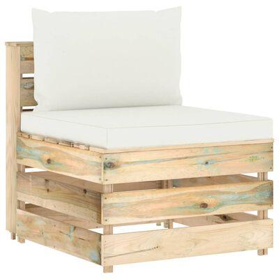 vidaXL Muebles de jardín 6 piezas con cojines madera impregnada verde