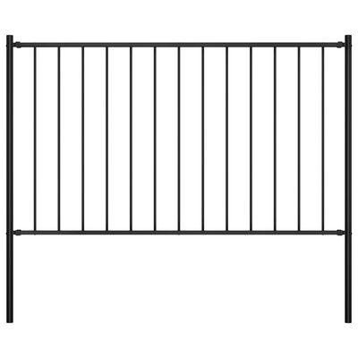 vidaXL Panel valla y postes acero recubrimiento polvo negro 1,7x1,25m
