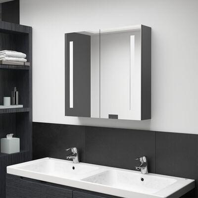 vidaXL Armario de baño con espejo LED gris 62x14x60 cm