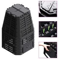 vidaXL Compostador de jardín negro 93,3x93,3x146 cm 1000 L