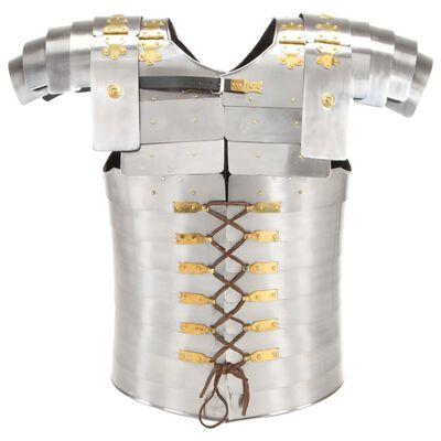 vidaXL Réplica de armadura de soldado romano LARP acero plateado