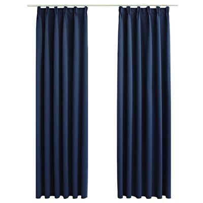 vidaXL Cortinas opacas con ganchos 2 piezas azul 140x175 cm