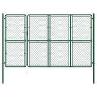 vidaXL Puerta de jardín de acero verde 150x350 cm