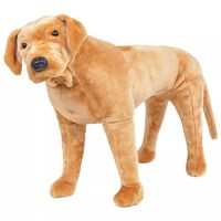vidaXL Perro labrador de peluche de pie marrón claro XXL