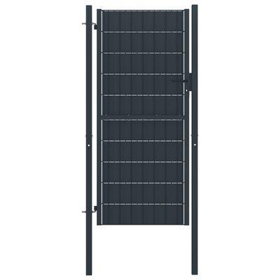 vidaXL Puerta de valla de PVC y acero gris antracita 100x164 cm