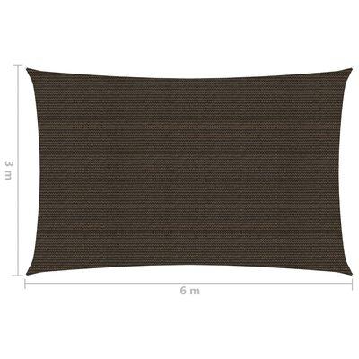 vidaXL Toldo de vela HDPE marrón 160 g/m² 3x6 m