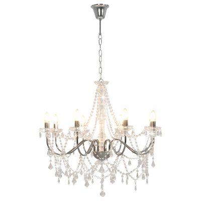 vidaXL Lámpara de araña con cuentas plateado 8 bombillas E14