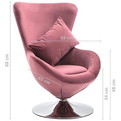 vidaXL Sillón egg giratorio de terciopelo con cojín rosa