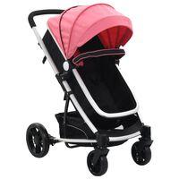 vidaXL Cochecito/Silla de bebé 2 en 1 aluminio rosa y negro