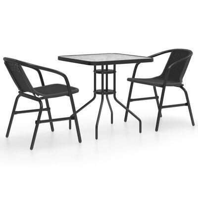 vidaXL Juego de comedor de jardín de 3 piezas negro