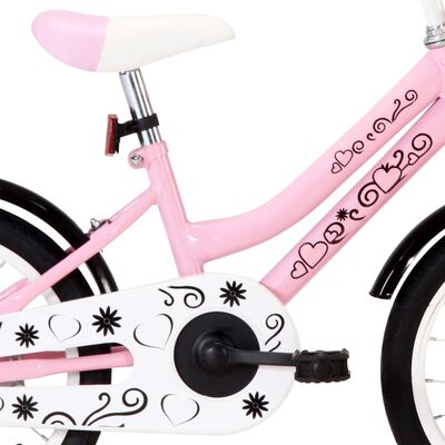 """vidaXL Bicicleta niños con portaequipajes delantero 16"""" blanco y rosa"""