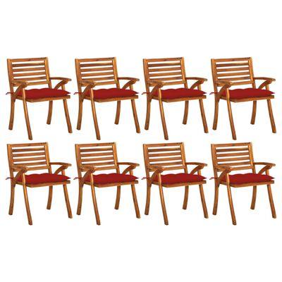 vidaXL Sillas de jardín 8 uds madera maciza de teca con cojines