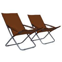 vidaXL Sillas de playa plegables 2 unidades tela marrón