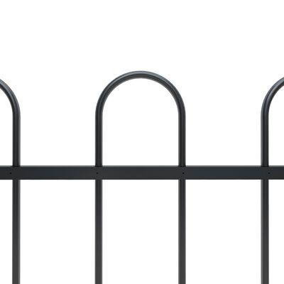 vidaXL Valla de jardín con puntas de aro acero negro 15,3x1,2 m