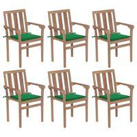 vidaXL Sillas de jardín apilables 6 uds madera maciza teca con cojines