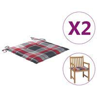 vidaXL Cojines de silla de jardín 2 uds tela a cuadros rojos 50x50x4cm