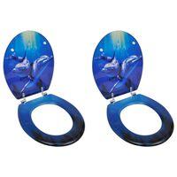 vidaXL Asientos de inodoro con tapas 2 uds MDF delfín