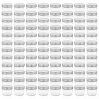 vidaXL Tarros de mermelada de vidrio tapa plateada 96 unidades 110 ml