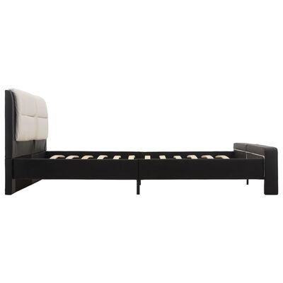 vidaXL Estructura de cama cuero sintético negro y blanco 140x200 cm