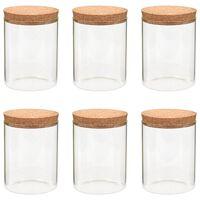 vidaXL Tarros de almacenaje con tapa de corcho 6 unidades 650 ml