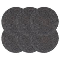 vidaXL Mantel individual 6 unidades liso redondo yute gris oscuro 38cm